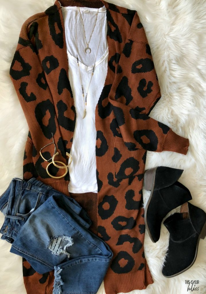 rust leopard cardigan with white tee and jeans black booties - This is our Bliss