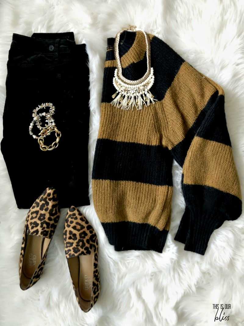striped sweater leopard shoes for holiday outfit - This is our Bliss
