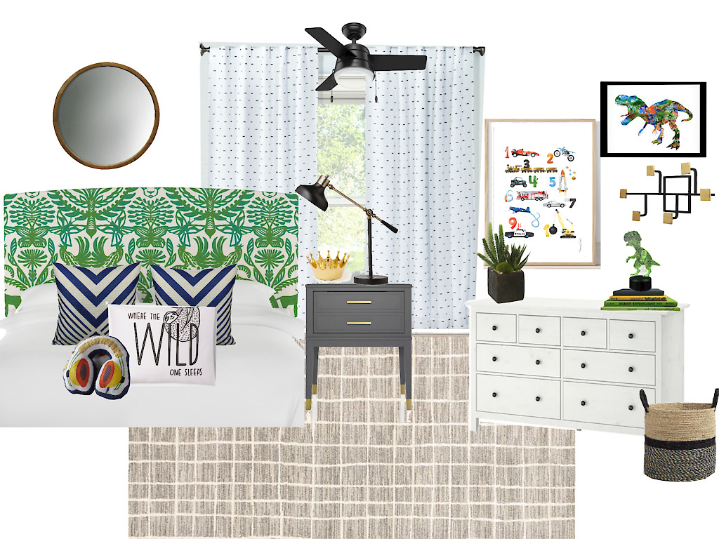 Playful and Pattern-Happy Big Boy Room Mood Board - This is our Bliss