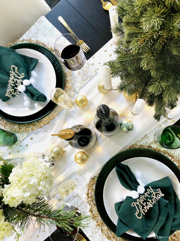 Christmas Table set-up with green gold white decor - Holiday entertaining in the Dining Room - This is our Bliss