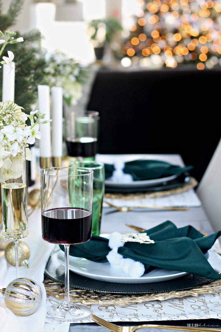 Christmas Tablescape - green gold and white - serving wine and champagne holiday hosting - This is our Bliss
