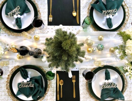 Christmas Tablescape with twinkling lights and green white and gold decor - This is our Bliss