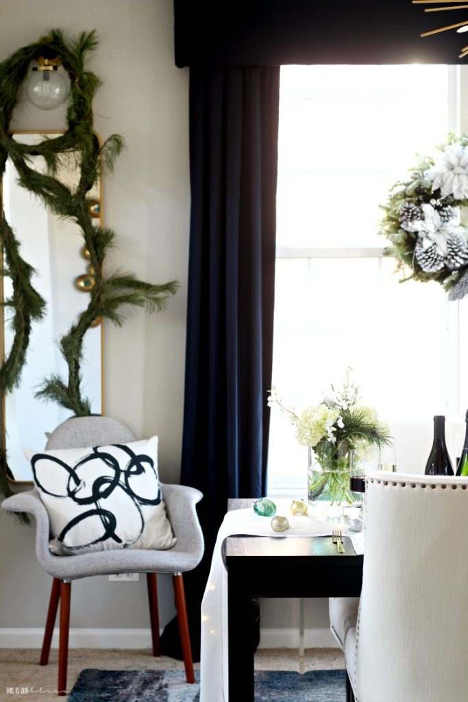 Christmas dining room with green white and gold - navy curtain panels - This is our Bliss
