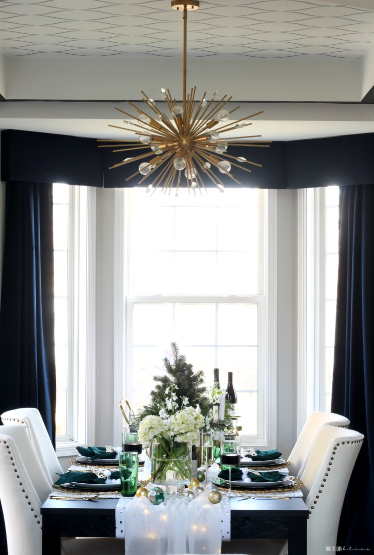 Christmas tablescape in the Dining Room with green gold and white - This is our Bliss