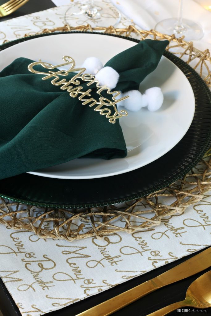 Christmas tablescape with ornament and pom pom napkin rings - green white and gold holiday table - This is our Bliss