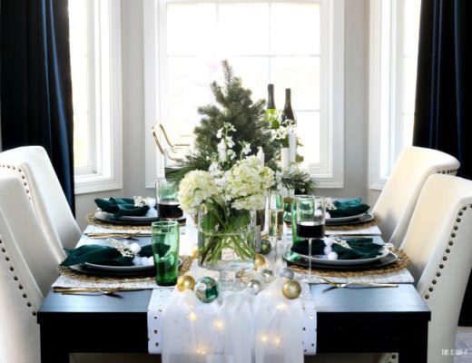 Dining Room decorated for Christmas - Holiday hosting - Green white and gold Christmas table - This is our Bliss
