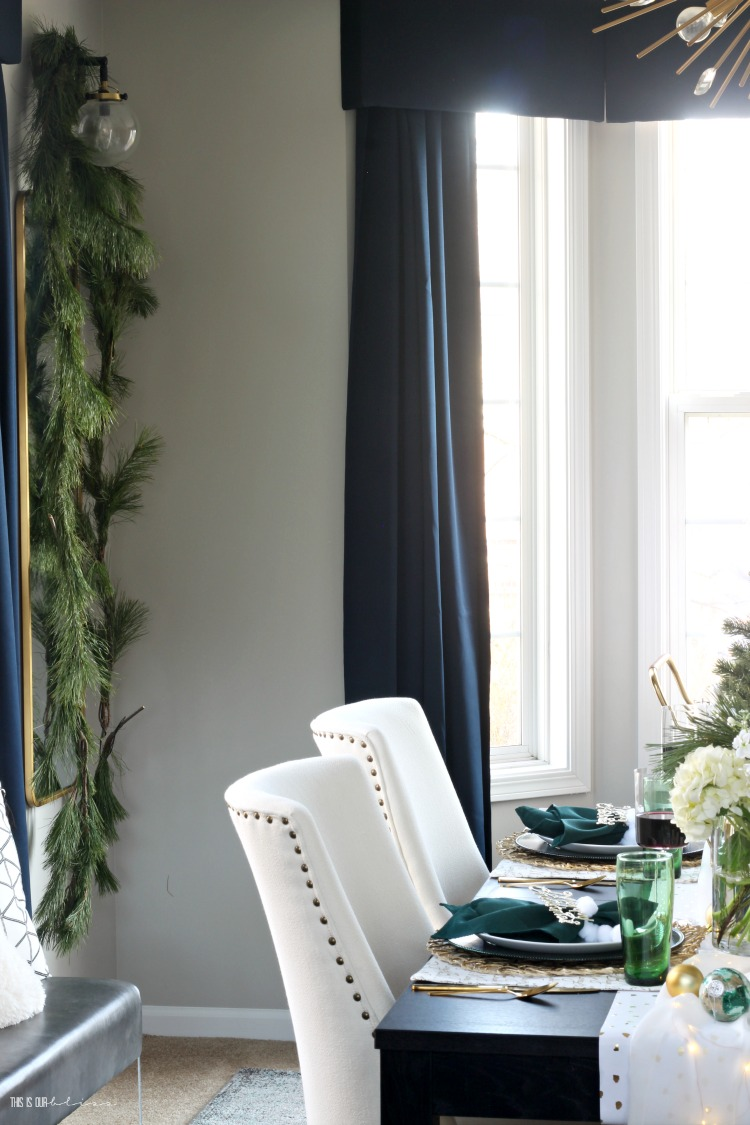 Fresh and Festive Christmas Dining Room - Fresh garland in the dining room - This is our Bliss