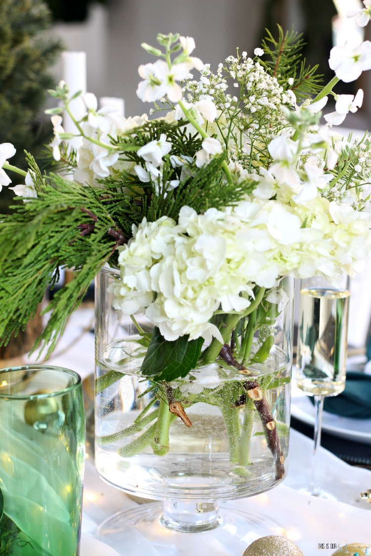 Fresh clippings with hydrangeas and baby's breath on Christmas Tablescape - This is our Bliss