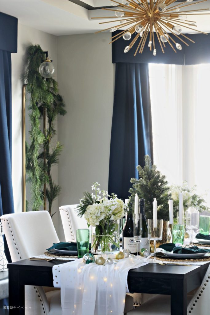 Green gold and white Christmas Tablescape - This is our Bliss