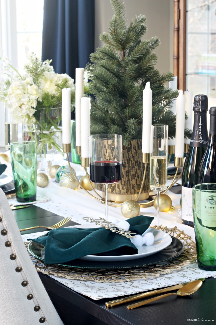 Green gold and white Christmas Tablescape in the dining room - This is our Bliss