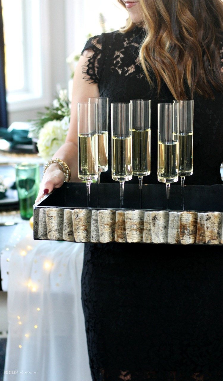 Holiday hosting with champagne flutes - holiday