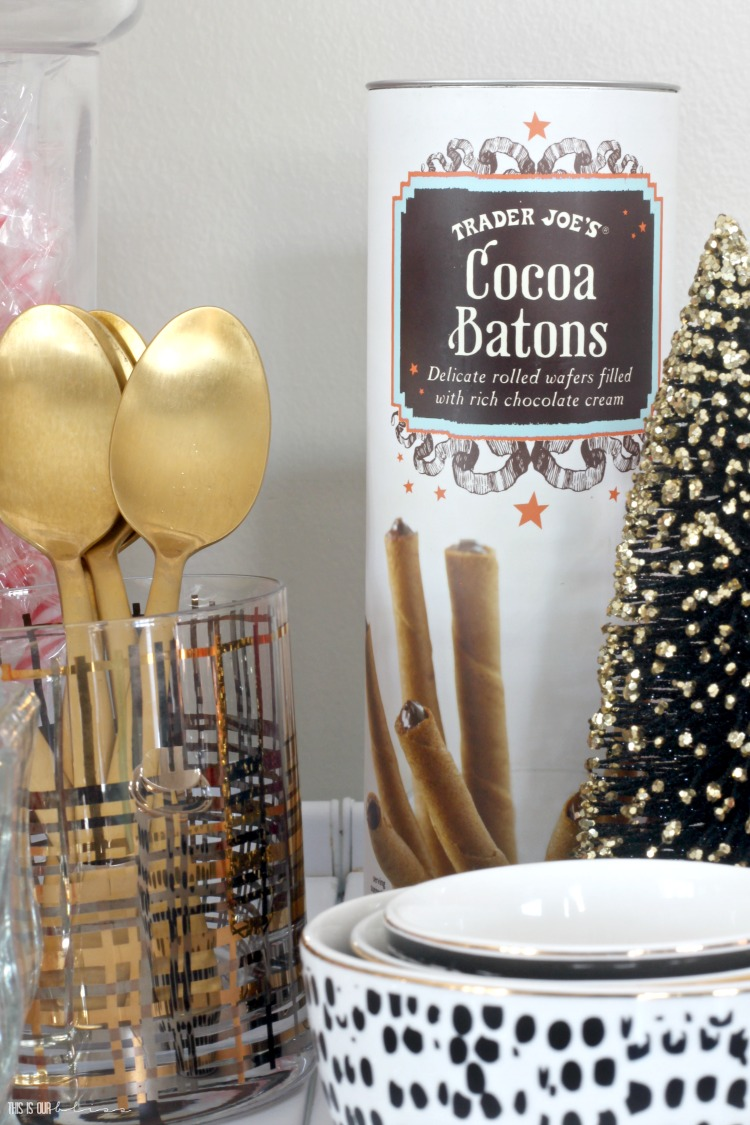 Hot cocoa bar with marshmallows candycanes and Trader Joe's cocoa batons - This is our Bliss