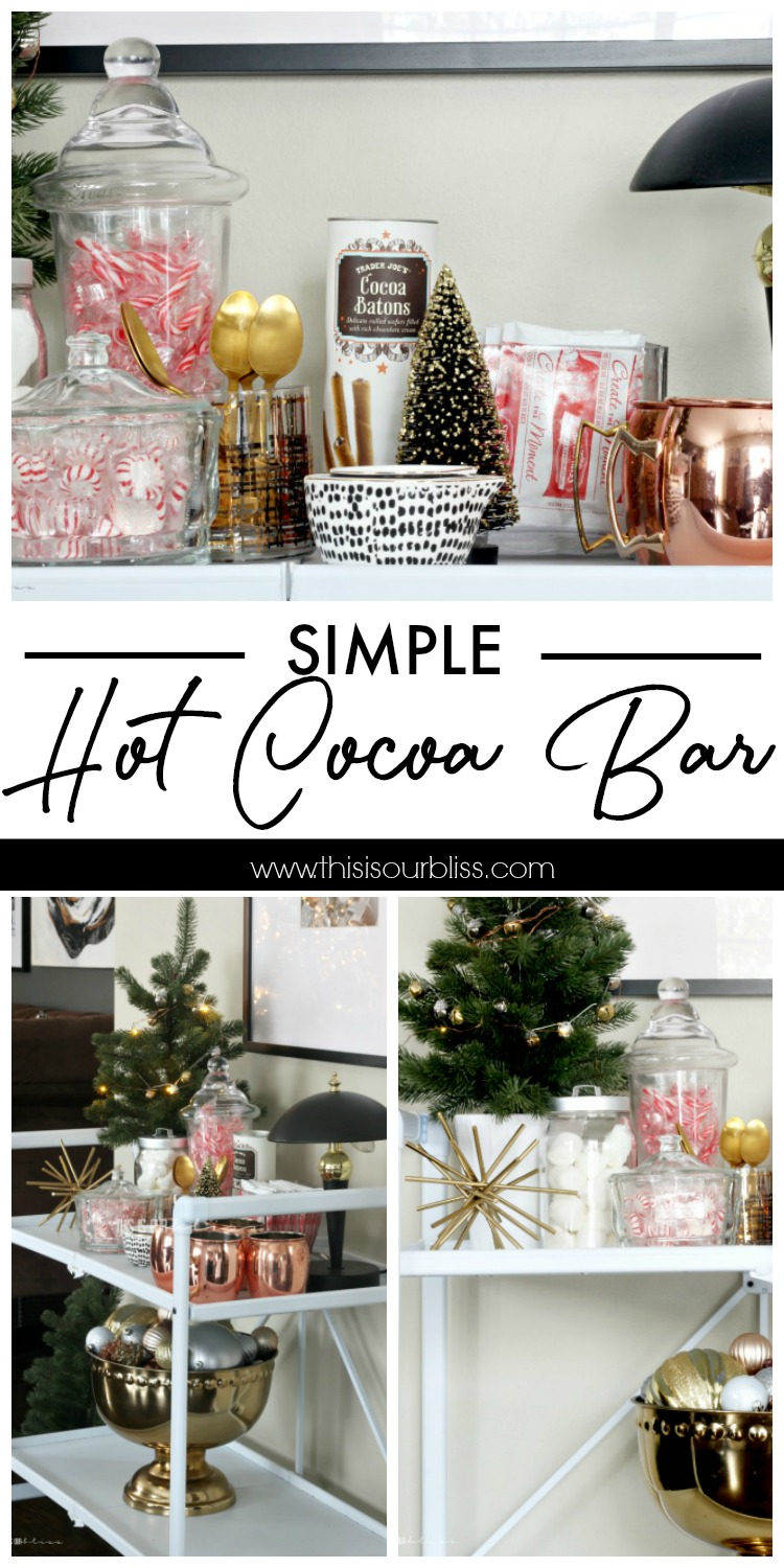 How to set- up a simple hot cocoa bar - hot chocolate station with holiday fixin's - This is our Bliss