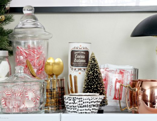Simple Hot cocoa bar on an outdoor bar cart - This is our Bliss