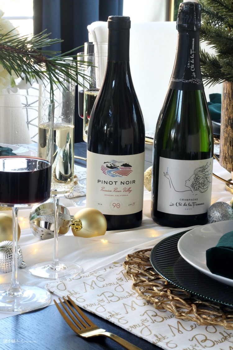 celebrating the holidays entertaining with friends - pinot noir and champagne - 90+ Cellars - This is our Bliss