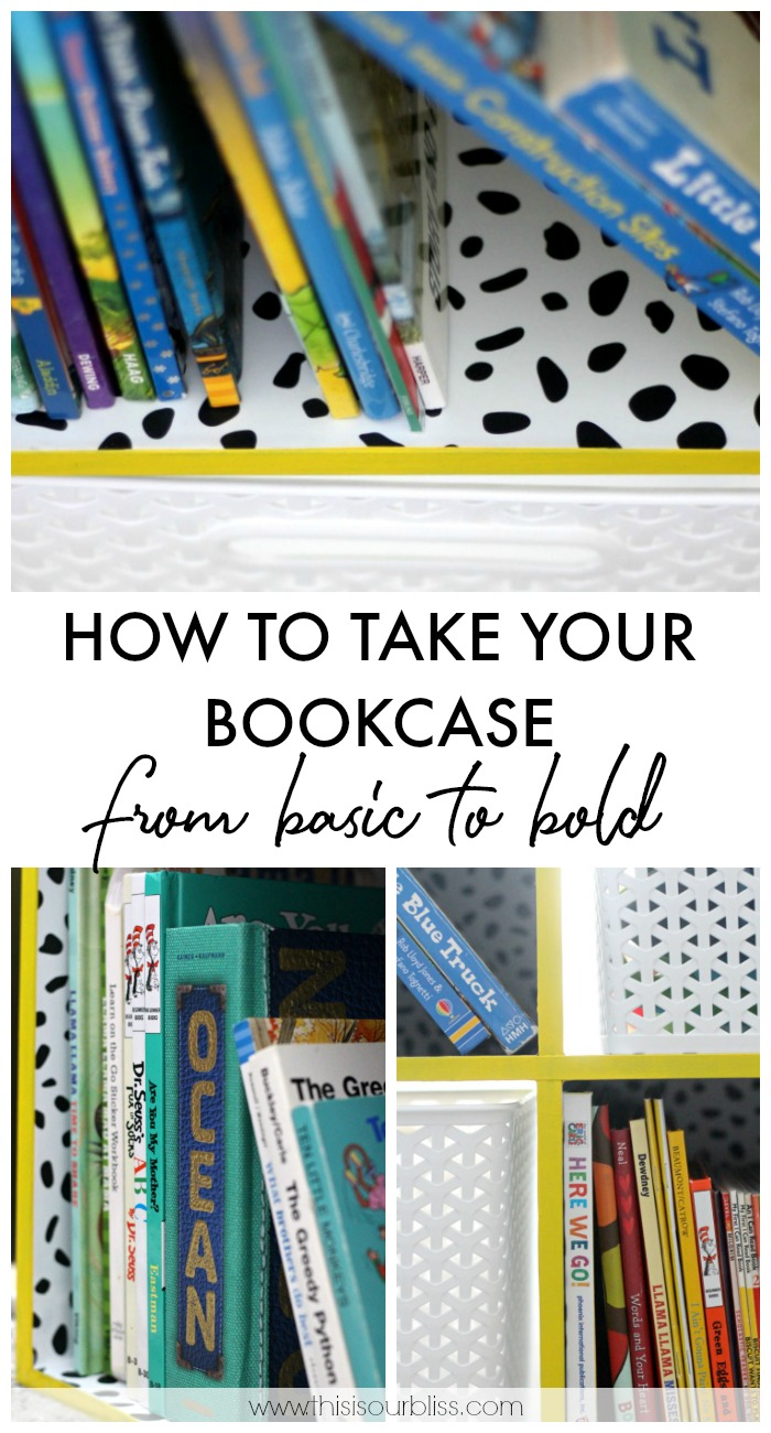 How to Take Your Bookcase from Basic to Bold - DIY Ideas for upcycling an old bookshelf with paint and wallpaper - This is our Bliss