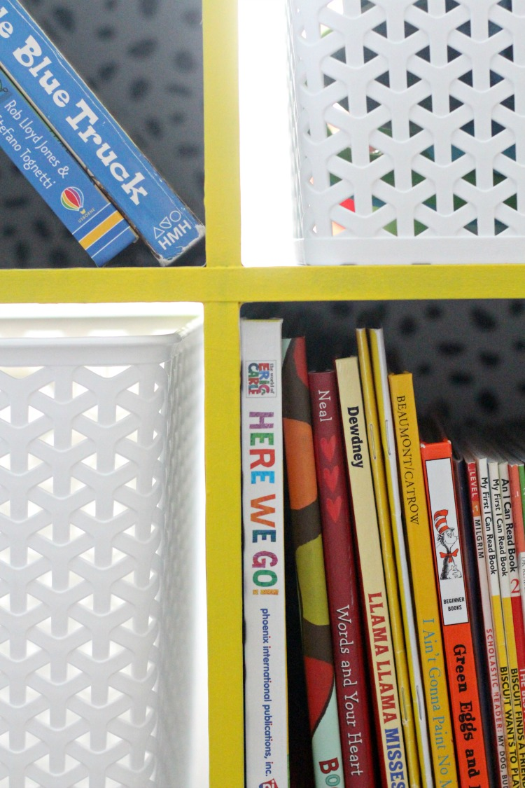 Yellow bookcase in big boy room - how to take a bookcase from basic to bold - This is our Bliss