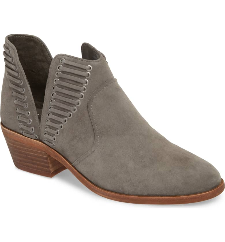 gray suede ankle bootie - This is our Bliss