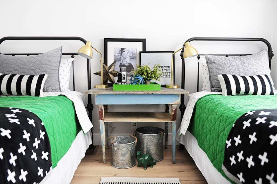 green-black-white-twin-beds-big-boy-room - This is our Bliss