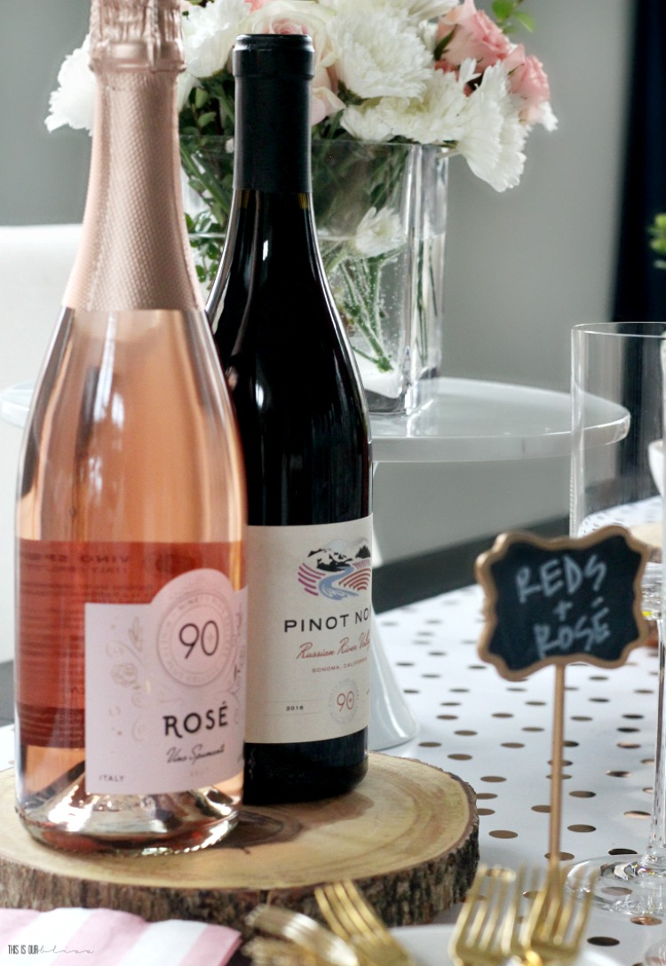90+ Cellars Rose - 90+ Cellars Pinot Noir - wine tasting party for Galentine's Day - This is our Bliss
