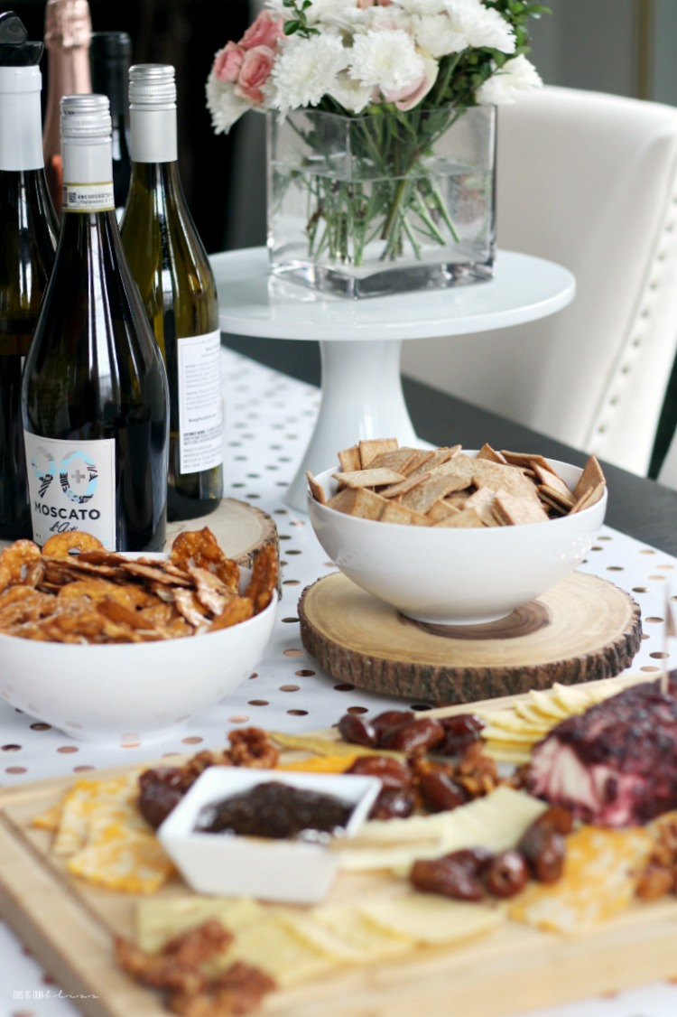 90+ Cellars white wine red wine moscato and cheese board for wine tasting party - This is our Bliss