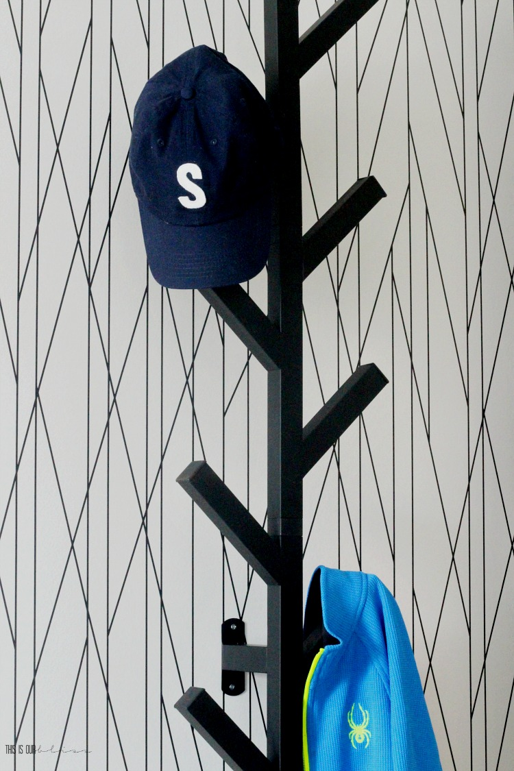 Big Boy Room Reveal - modern black wall hook on wallpaper accent wall - This is our Bliss
