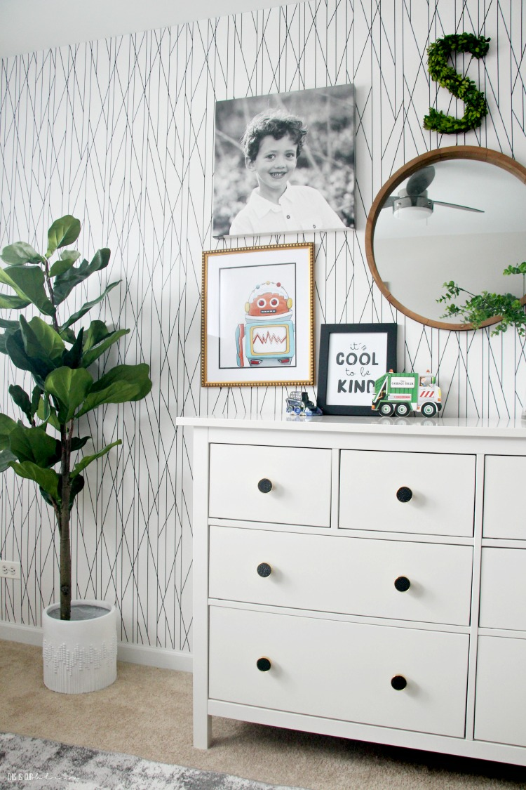 Black and white geometric wallpaper accent wall - Big Boy Room Reveal - Modern little boy digs - This is our Bliss
