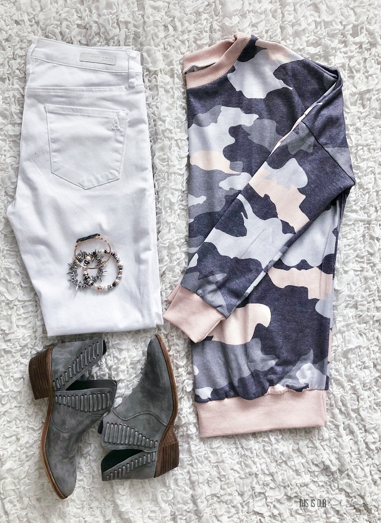 Casual Chic Style Vol. 1 - cute and casual every day outfit ideas - blush and gray camo pullover white jeans gray booties - This is our Bliss