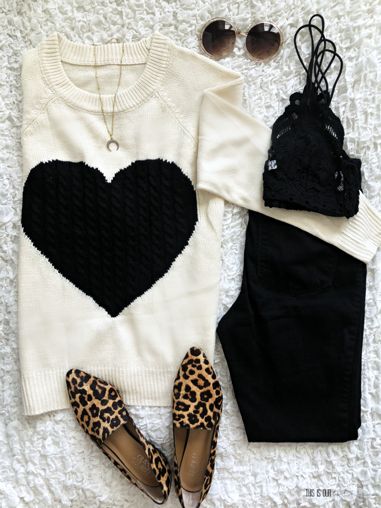 Casual Chic Style Vol. 1 - cute and casual every day outfit ideas - cream and black heart sweater black skinny jeans leopard loafers - This is our Bliss