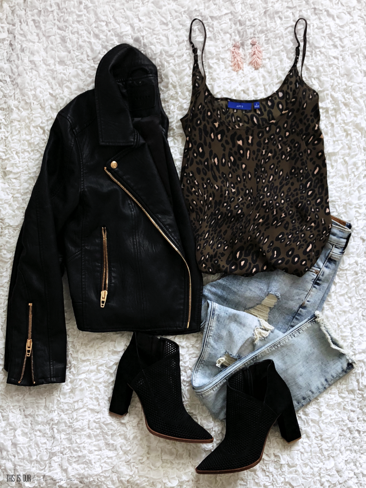 Casual Chic Style Vol. 1 - cute and casual every day outfit ideas - leopard cami black faux leather moto jacket distressed jeans - This is our Bliss