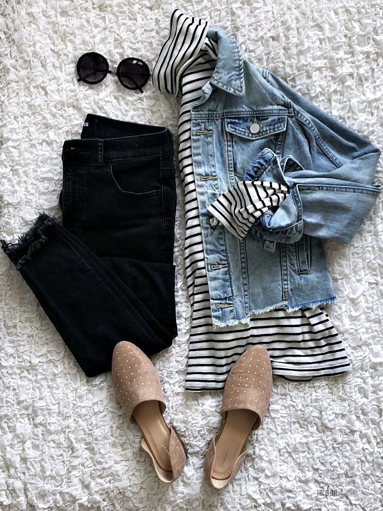 Casual Chic Style Vol. 1 - cute and casual outfit ideas - jean jacket and striped top - This is our Bliss
