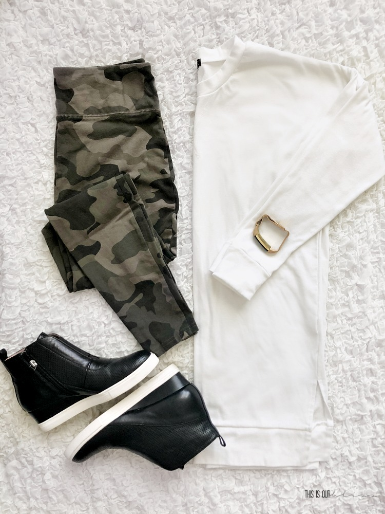 Casual Chic Style Vol. 1 - cute and casual outfits for every day on-the-go moms - camo leggings white tunic pullover black wedge sneakers - This is our Bliss