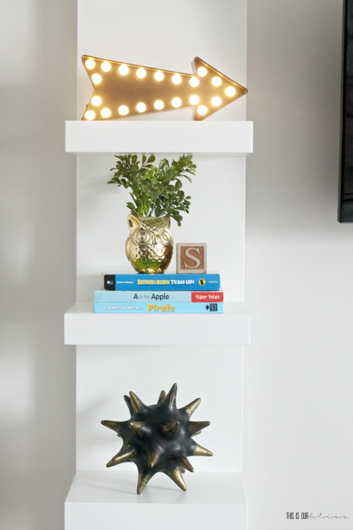 Floating wall shelf in a big boy room - Playful and pattern-happy boy room - This is our Bliss