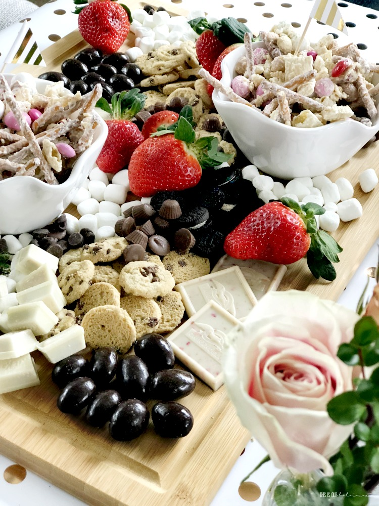 How to make the ultimate sweets and strawberries board - dessert tray ideas - This is our Bliss