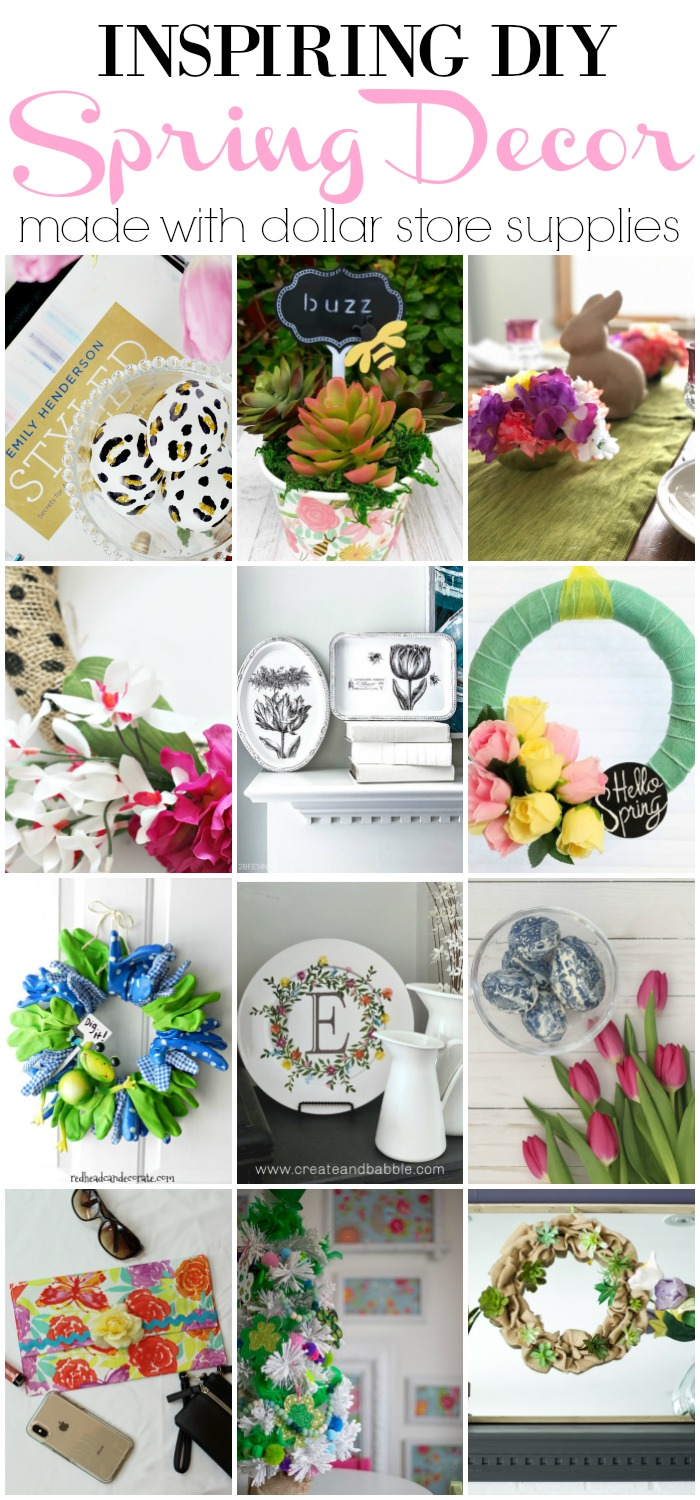 Inspiring DIY Spring Decor Ideas made with dollar store supplies