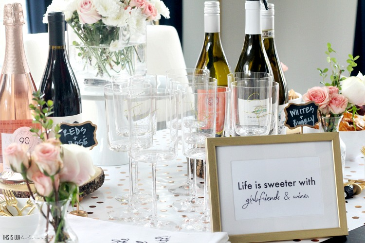 Life is sweeter with girlfriends and wine - Galentine's Day party quote - wine tasting party for a girl's night in - This is our Bliss