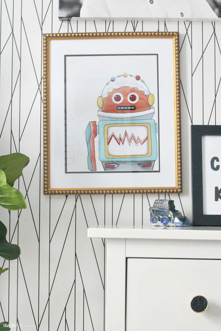 Playful and pattern-happy Big Boy Room Reveal - Gallery wall full of kid art prints - This is our Bliss