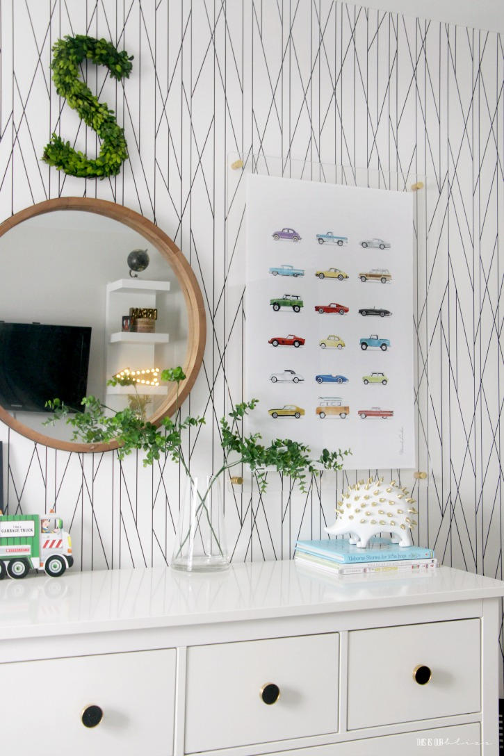 Playful pattern-happy big boy room reveal - black and white geometric wallpaper accent wall with colorful kid art prints - This is our Bliss