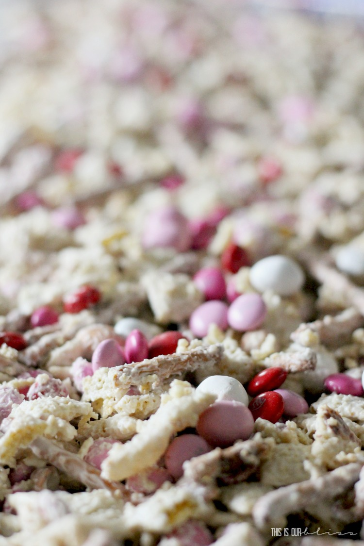 Red Pink and white Vanilla Almond Valentine's Day chex mix Treat - Sweet and Salty Valentine's Day Treat mix - This is our Bliss