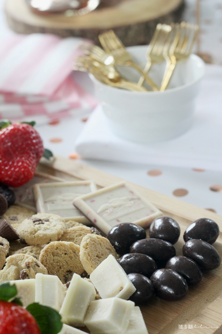 Simple Dessert board with store-bought ingredients - Galentines Day party snack ideas - How to make the ultimate sweets and strawberries board - This is our Bliss