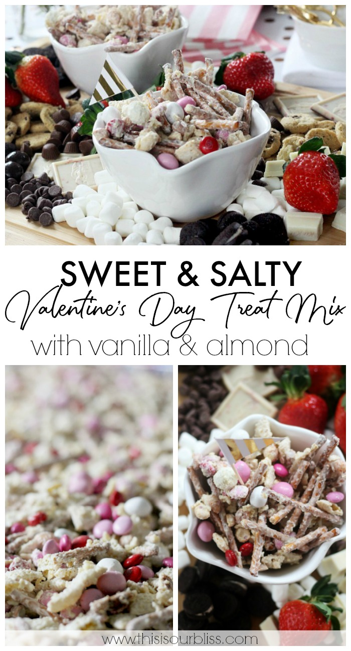 Sweet and Salty Valentines Day Treat mix with vanilla and almond - Galentine's day party snack ideas - dessert board with chex mix - This is our Bliss
