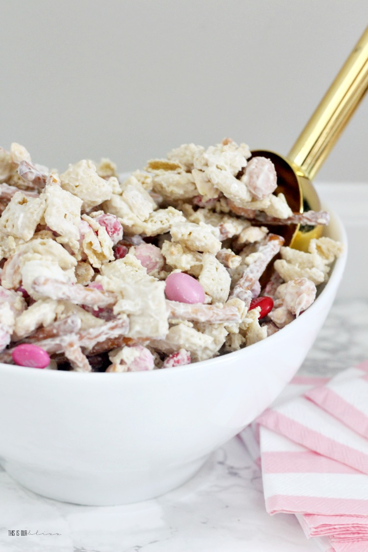 Sweet and salty Valentine's Day Treat Mix - Galentine's Day party snack mix to serve for Girls night in - This is our Bliss