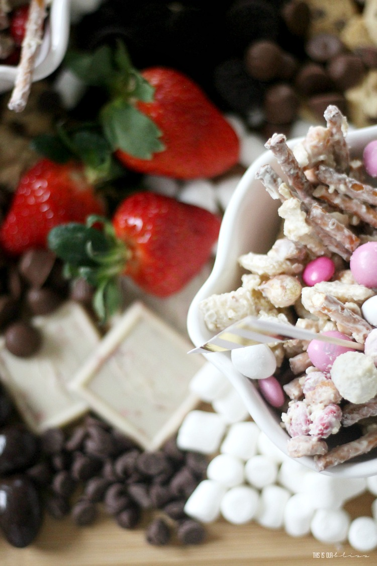 Sweets and strawberry board with sweet and salty valentine's Day Treat mix - This is our Bliss