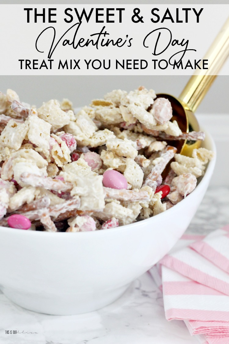 The Sweet and Salty Valentine's Day Treat Mix you need to make - Vanilla Almond Chex Mix recipe for Valentine's Day - This is our Bliss