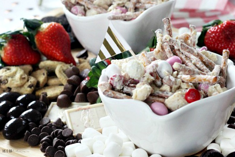 Valentine's Day Treat Mix - Sweets-Strawberry-board-for-Wine-Tasting-Party-Galentines-Day-party-treats-This-is-our-Bliss-1