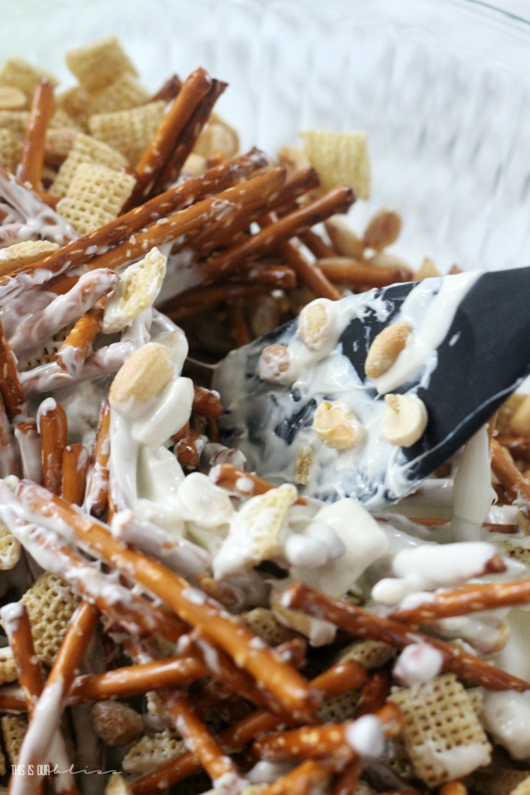 Valentine's Day treat mix recipe - rice chex pretzels peanuts with vanilla coating - This is our Bliss