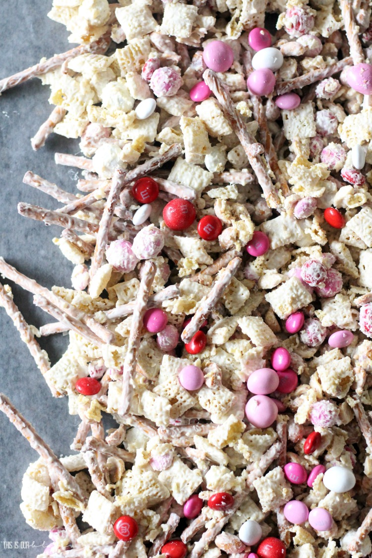 Vanilla Almond Valentine's Day Chex Mix Treats - red pink white M&M's - This is our Bliss