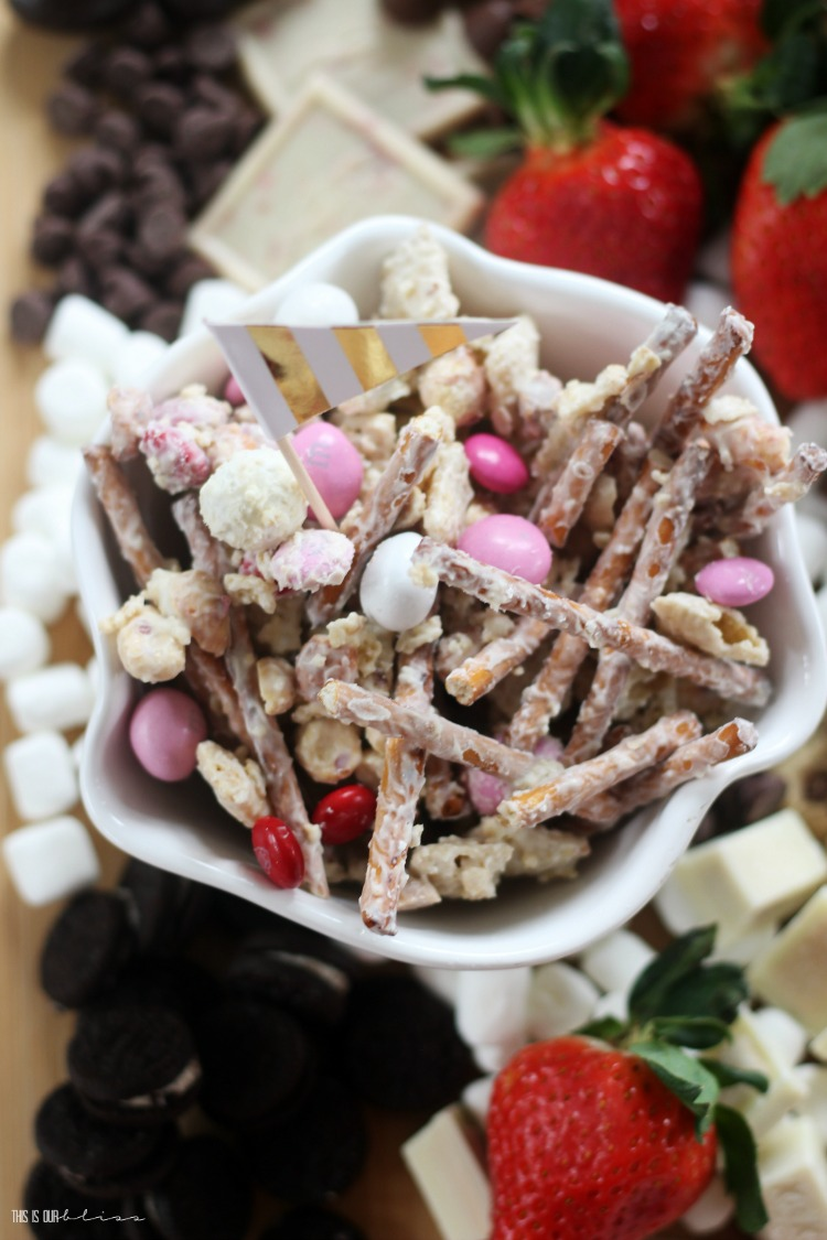 Vanilla Chex Mix treats - sweet and salty Valentine's Day treat mix - Sweets and strawberries board - This is our Bliss