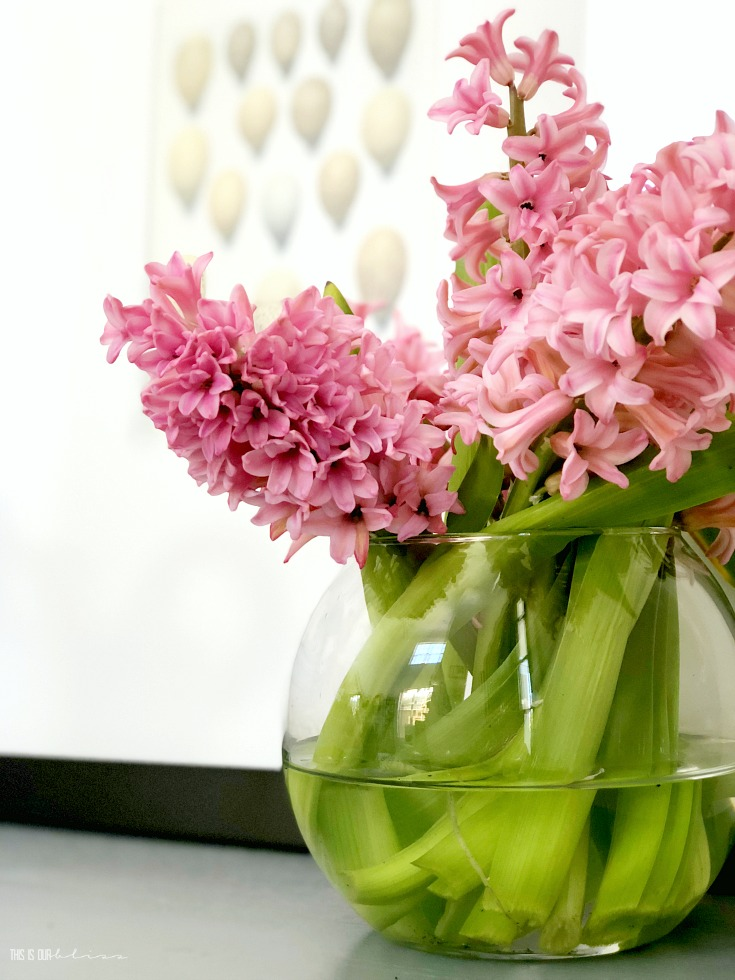 A touch of Spring in the entryway - entryway table styling for Spring - This is our Bliss