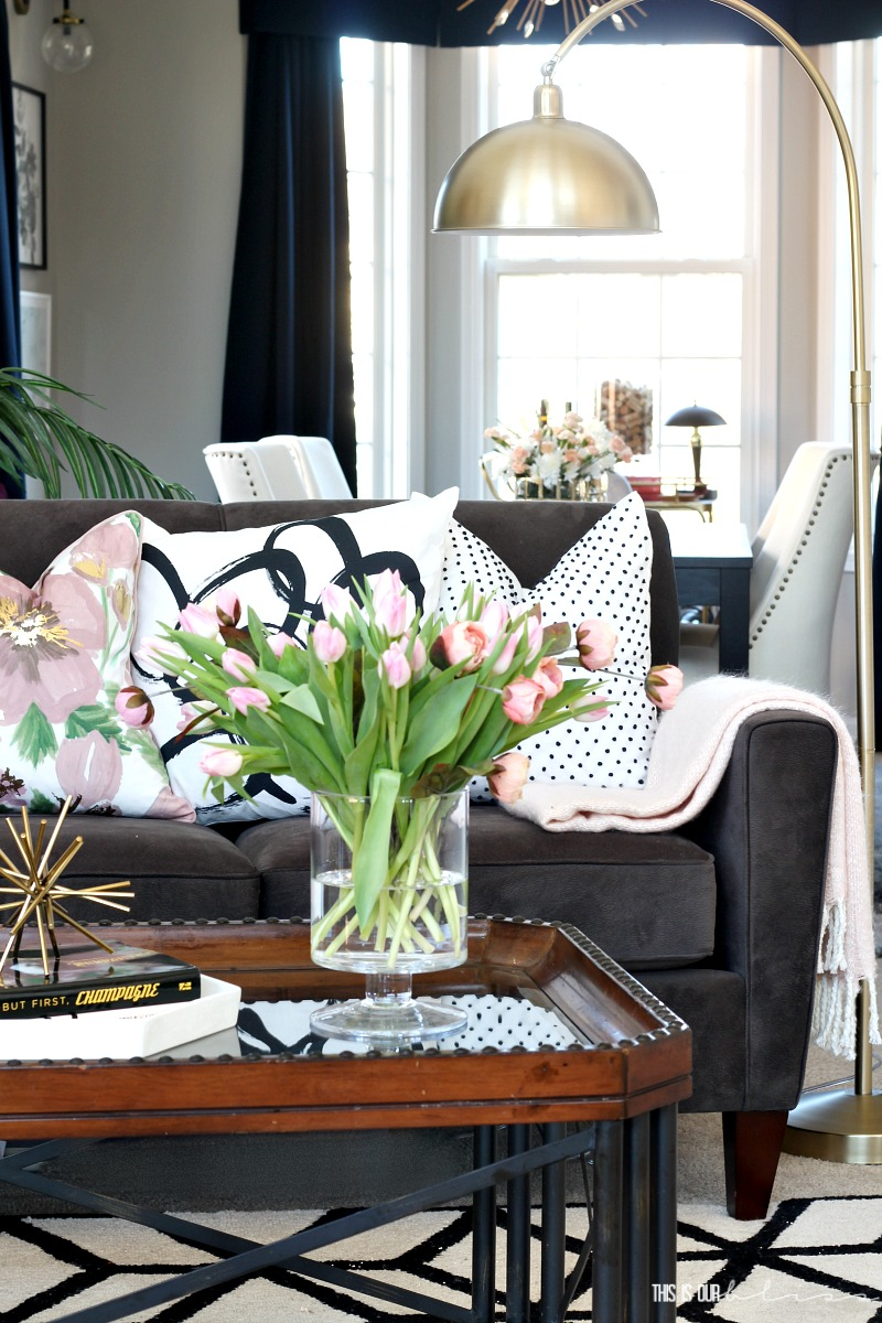 Looking for ways to spruce up your home for Spring, but not break the bank? Click here for 11 simple ways to freshen up your home for Spring - Adding a few Spring Touches - This is our Bliss